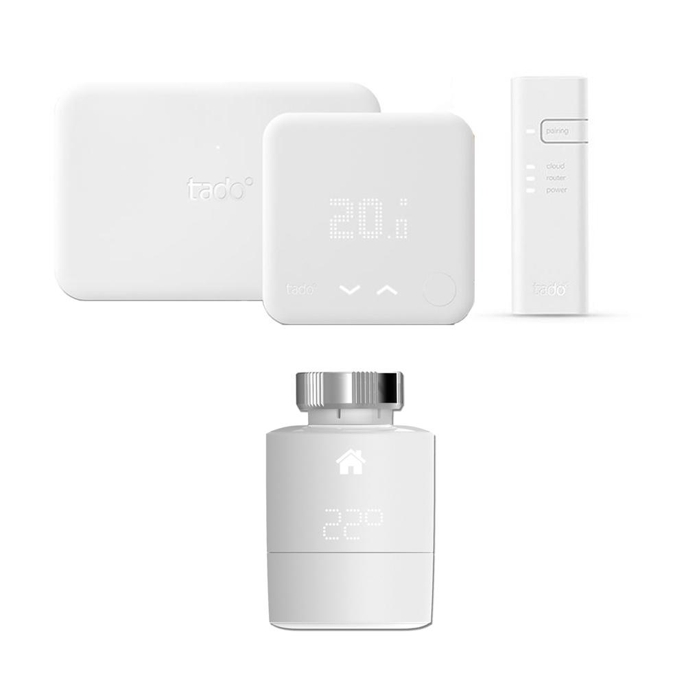 Smartes Thermostat Starter Set inkl. Extension Kit & 2x Smarte Heizkörperventile Horizontal - Tado°