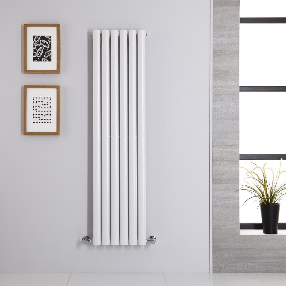 Design Heizkörper Vertikal Einlagig Weiß 1400mm x 354mm 686W - Revive