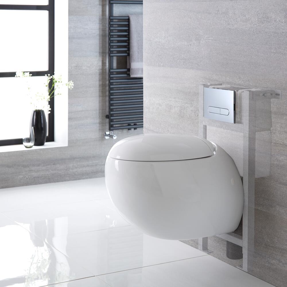 Hänge WC Oval mit Unterputzspülkasten für Verkleidung & wählbarer Betätigungsplatte - Langtree