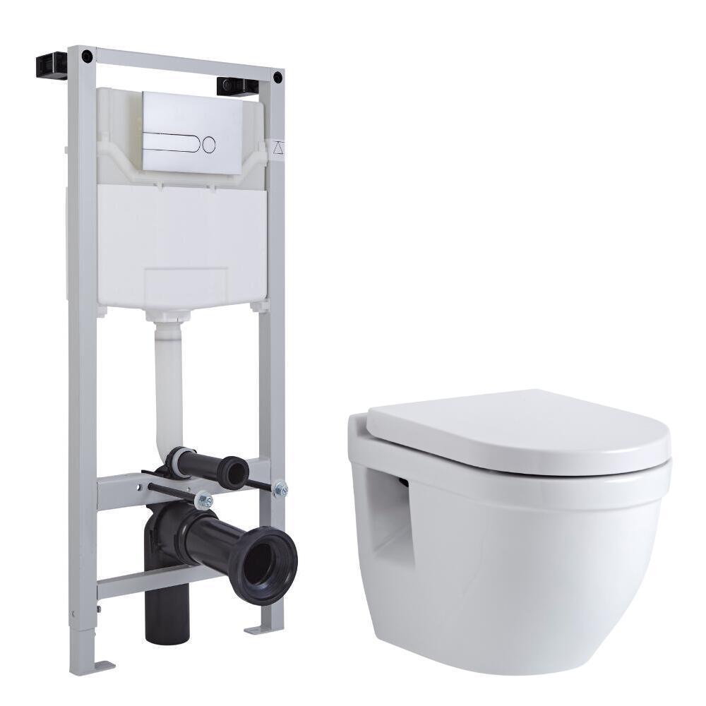 Hänge WC Oval mit Unterputzspülkasten & wählbarer Betätigungsplatte - Newby