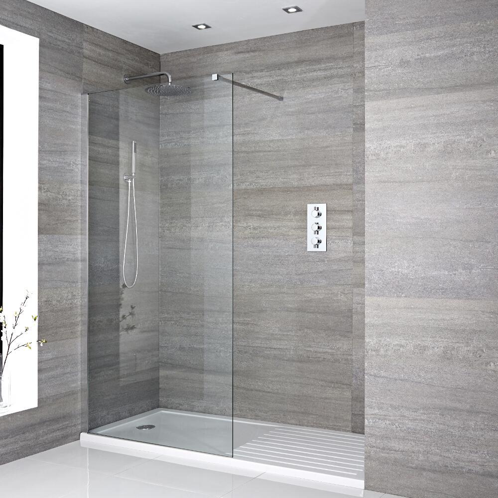 Walk-In Duschwand 1600mm x 800mm inkl. Duschtasse mit Trocknungsbereich - Portland