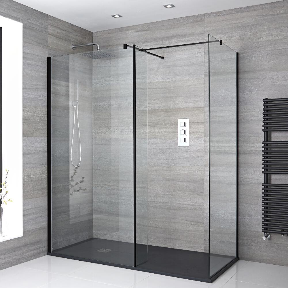 2 Walk-In Duschwände 900mm/ 1000mm inkl. 1700mm x 900mm Anthrazit Duschtasse, Seitenteil & schwarzes Profil - Nox
