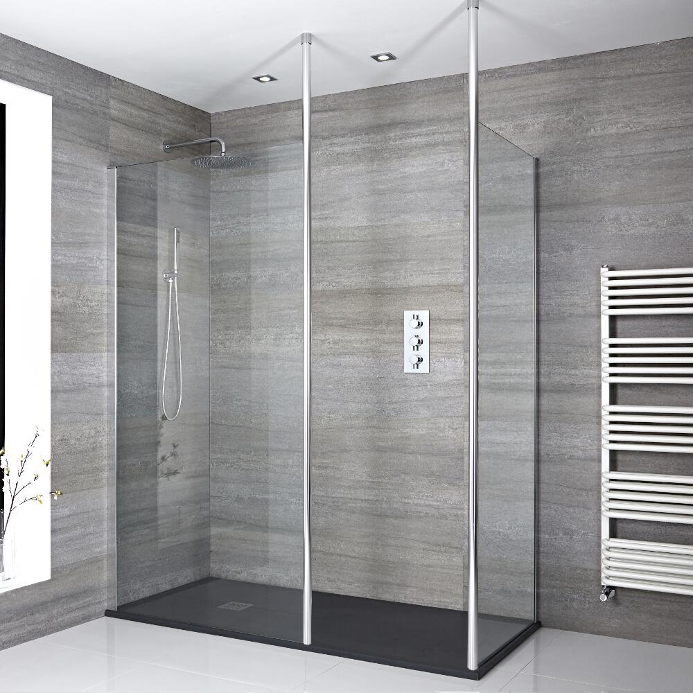 2 Walk-In Duschwände inkl. 2x Duschwandhaltestangen & 1700mm x 800mm Anthrazit Duschtasse - Sera