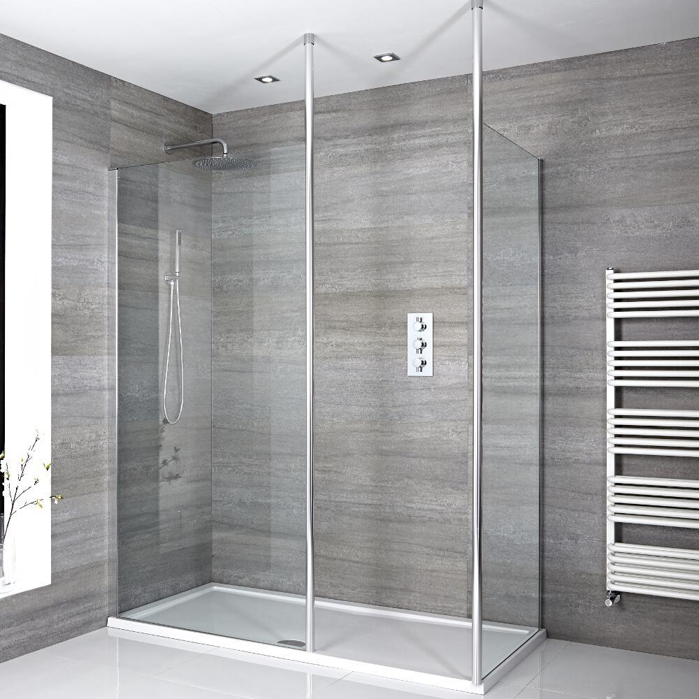 2 Walk-In Duschwände 800/1000mm inkl. 1700mm x 800mm Duschtasse & 2x Duschwandhaltestangen - Sera