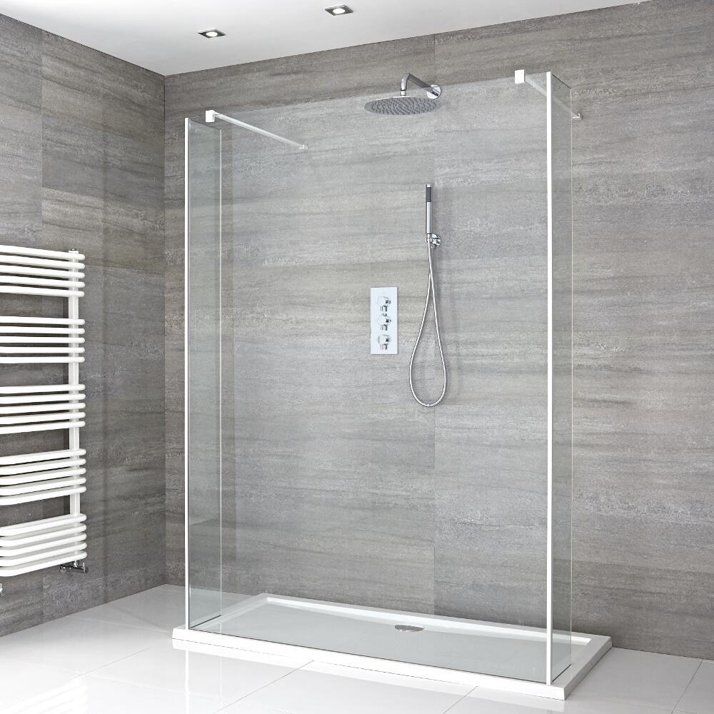 Walk-In Duschwand 1200mm inkl. 1200mm x 800mm Duschtasse, 2 Seitenteile & weißes Profil - Lux