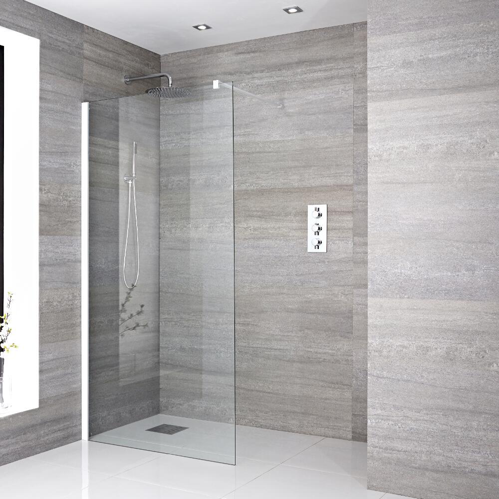 Walk-In Duschwand 1400mm inkl. weißes Profil & wählbarer Duschrinne - Lux