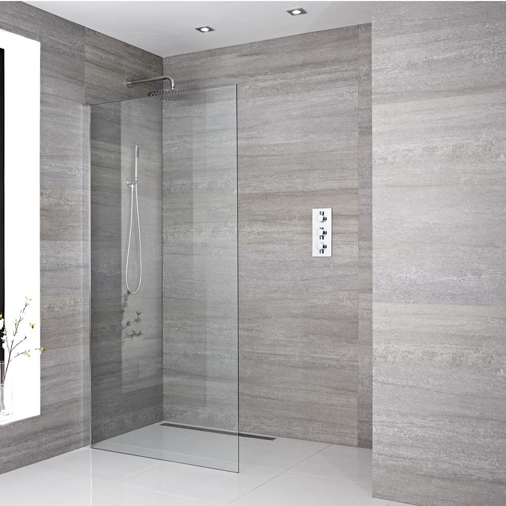 Walk-In Duschwand 1950mm x 1200mm inkl. Duschwandhaltestange & wählbare Duschrinne- Sera