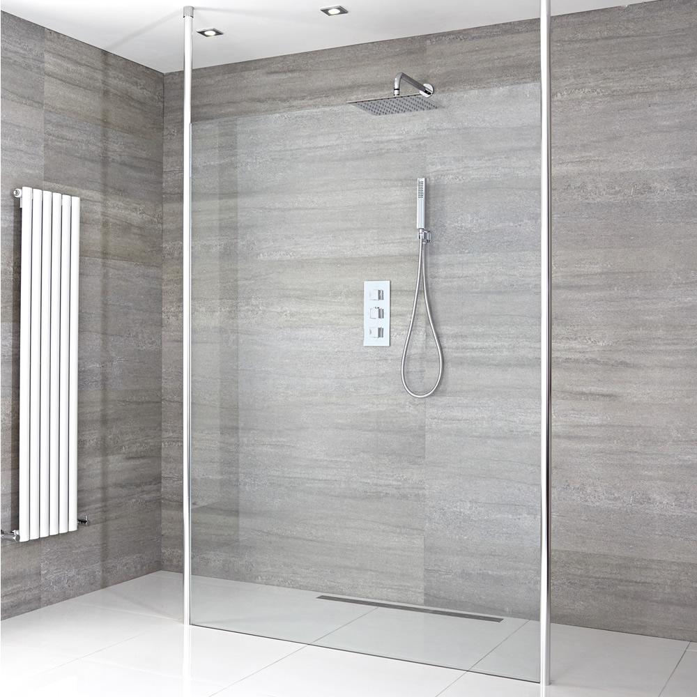 Walk-In Duschwand 1200mm inkl. wählbare Duschrinne & 2 Duschwandhaltestangen - Sera