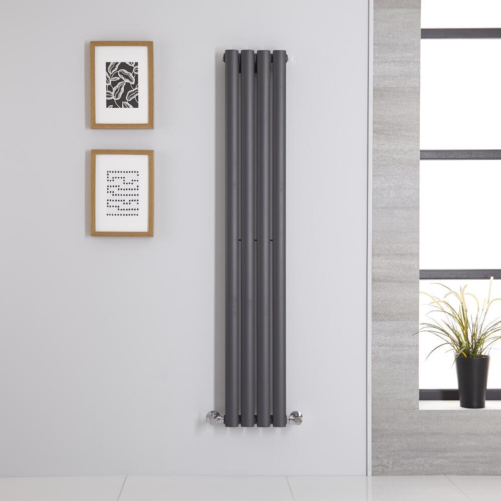 Design Heizkörper Vertikal Einlagig Anthrazit 1400mm x 236mm 457W - Revive