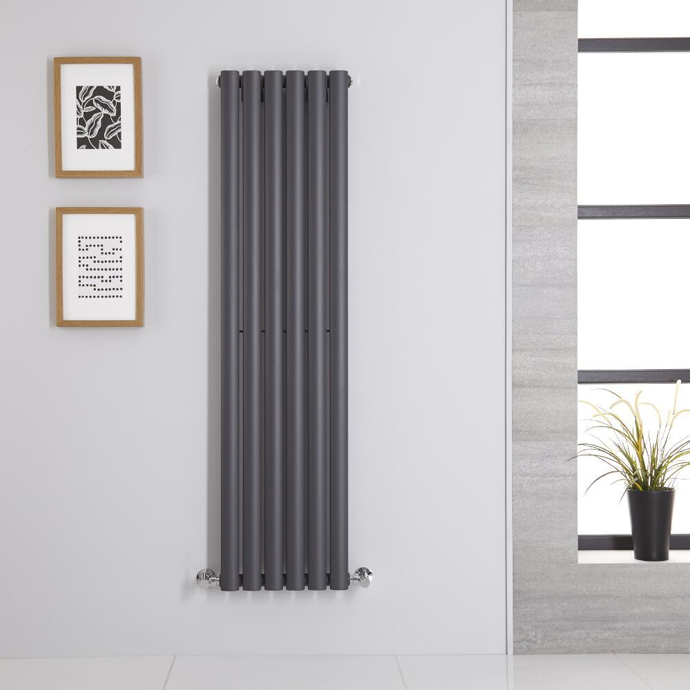 Design Heizkörper Vertikal Einlagig Anthrazit 1400mm x 354mm 686W - Revive