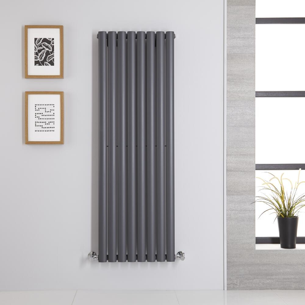 Design Heizkörper Vertikal Einlagig Anthrazit 1400mm x 472mm 915W - Revive