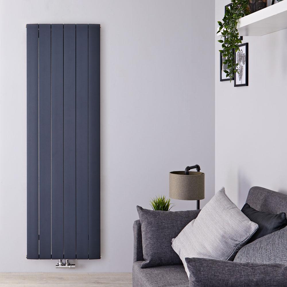Design Heizkörper Vertikal Einlagig Mittelanschluss - Aluminium Anthrazit 1600mm x 565mm 2042W - Aurora