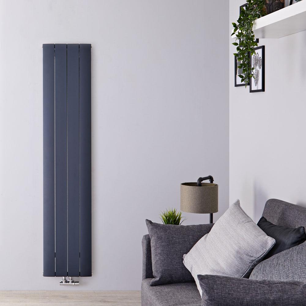 Design Heizkörper Vertikal Einlagig Mittelanschluss - Aluminium Anthrazit 1800mm x 375mm 1535W - Aurora