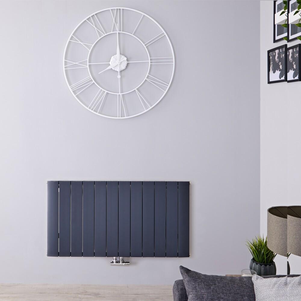Design Heizkörper Horizontal Einlagig Mittelanschluss - Aluminium Anthrazit 600mm x 1135mm 1384W - Aurora
