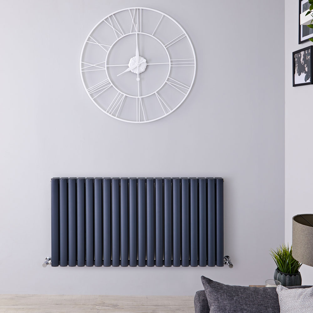 Design Heizkörper Aluminium Doppellagig Horizontal Anthrazit 600mm x 1190mm 2298W - Revive Air