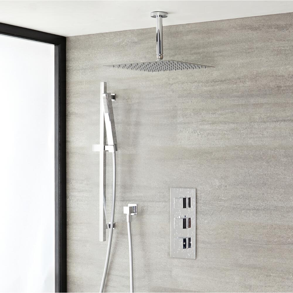 Duschsystem Kubix inkl Kopfbrause Deckenmontage, Handbrause mit Stange & Thermostat Duscharmatur