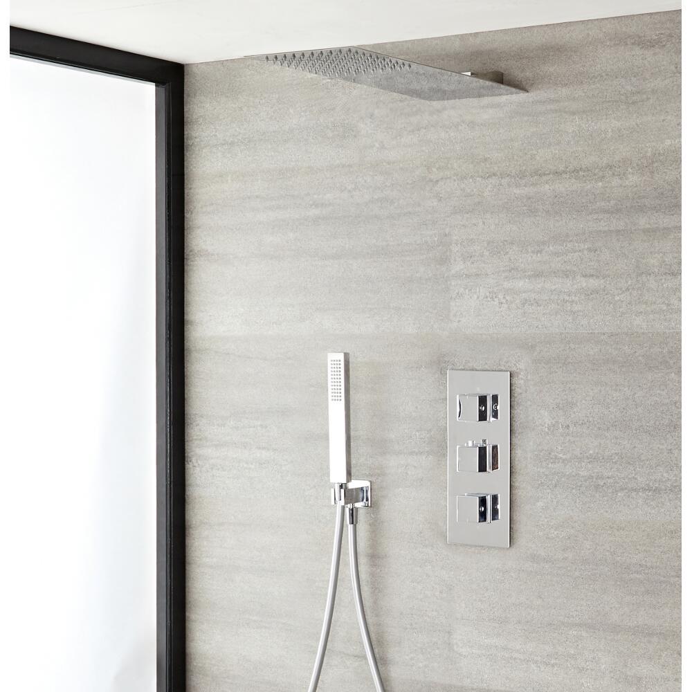 Duschsystem Kubix inkl 20x43cm Kopfbrause, Handbrause & Thermostat Duscharmatur