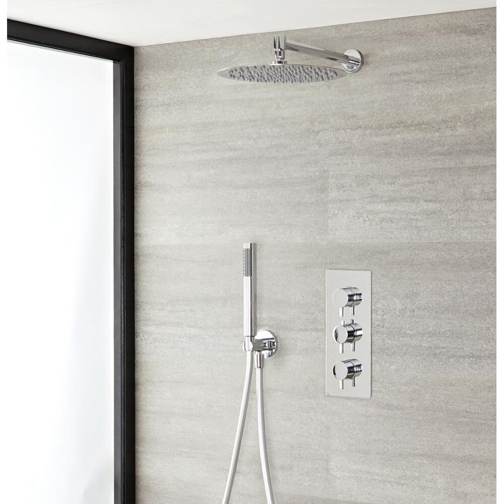 Duschsystem inkl 300mm Kopfbrause, Handbrause & Triple Duscharmatur - Ecco