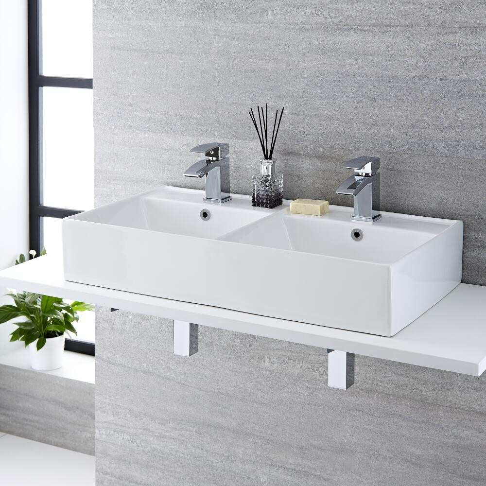 Doppelwaschbecken zur Aufsatzmontage Rechteckig 820mm x 420mm - Halwell