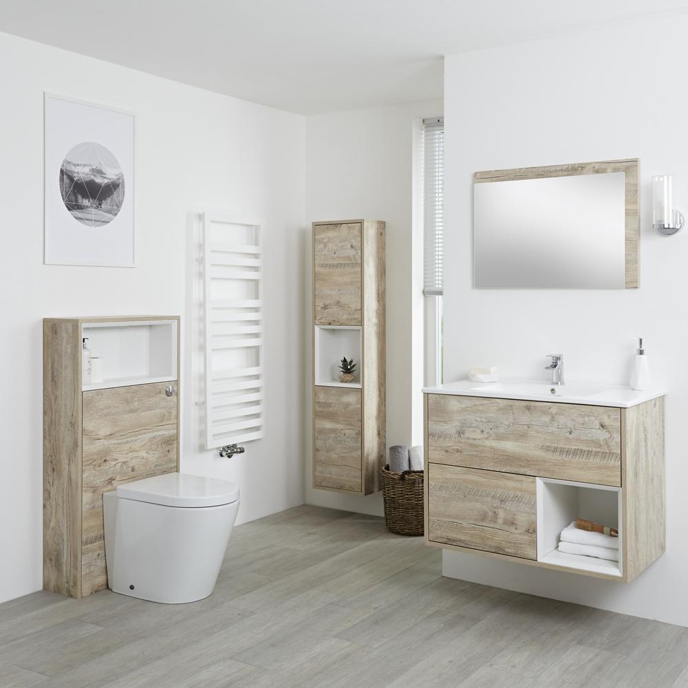 Hoxton 800mm Waschtischunterschrank, WC mit Spülkastenverkleidung, Schrank & Spiegel - Helle Eiche