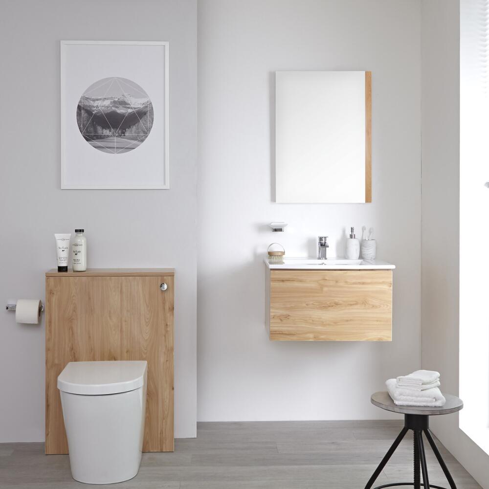 Newington - Moderne Standtoilette mit Vorwandelement 600mm & Spülkasten - Goldene Eiche