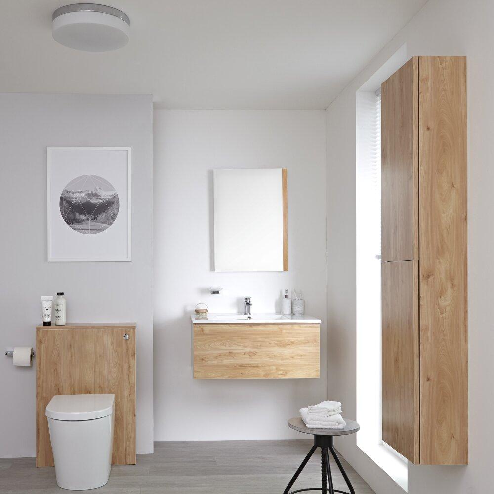 Newington - Waschtisch mit Unterschrank 800mm, WC mit Vorwandelement, Badschrank & Spiegel - Goldeiche