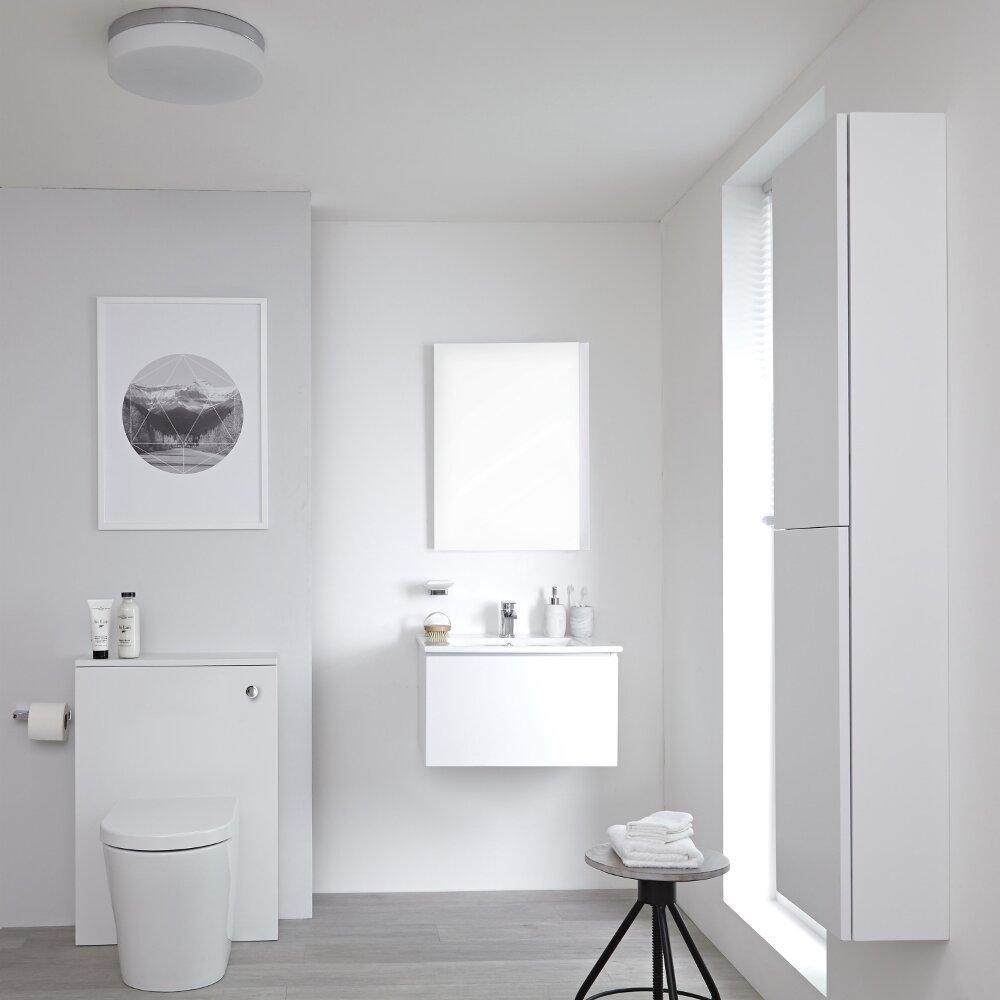 Newington - Waschtisch mit Unterschrank 600mm, WC mit Vorwandelement, Badschrank & Spiegel - Mattweiß