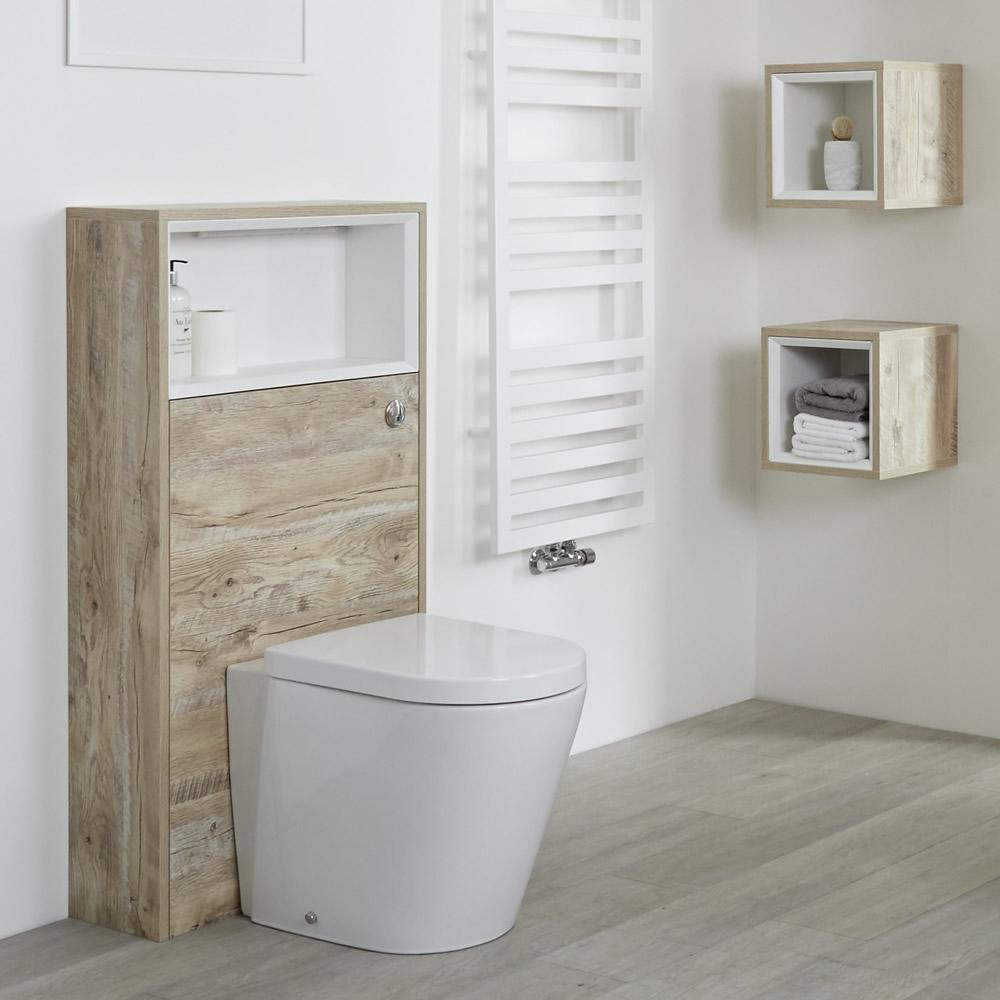 Hudson Reed Hoxton - 1150mm moderne Toilettenverkleidung mit Ablage - Helle Eiche
