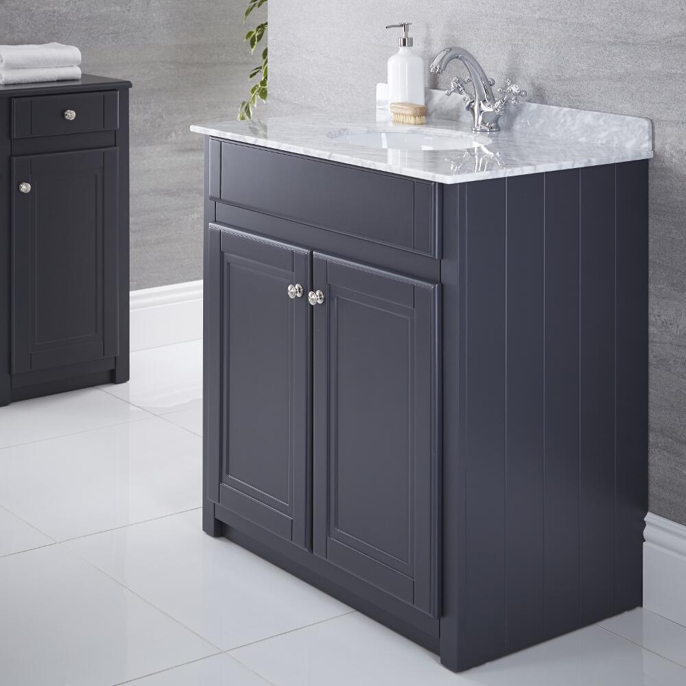 Waschtischunterschrank mit Aufsatzwaschbecken 800mm Anthrazit - Charlton