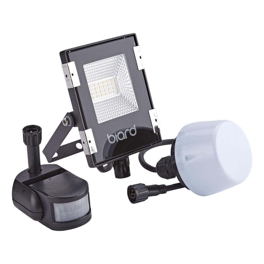 Biard 10W LED Fluter Slimline mit Wahlweise Infrarot Bewegungsmelder or Dämmerungssensor - Schwarz