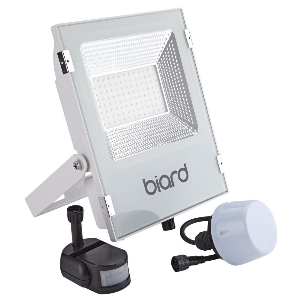 Biard 50W LED Fluter Slimline mit wahlweise Infrarot Bewegungsmelder oder Dämmerungssensor - Weiß