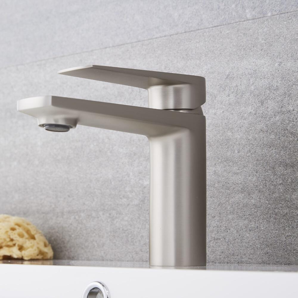 Einhebel Waschtischarmatur Modern in gebürstetem Nickel - Harting