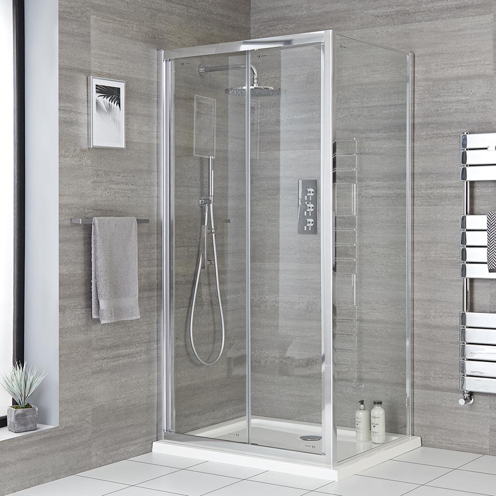 Eck-Duschkabine mit Duschwanne, Weiß Chrom - Größe wählbar - Portland