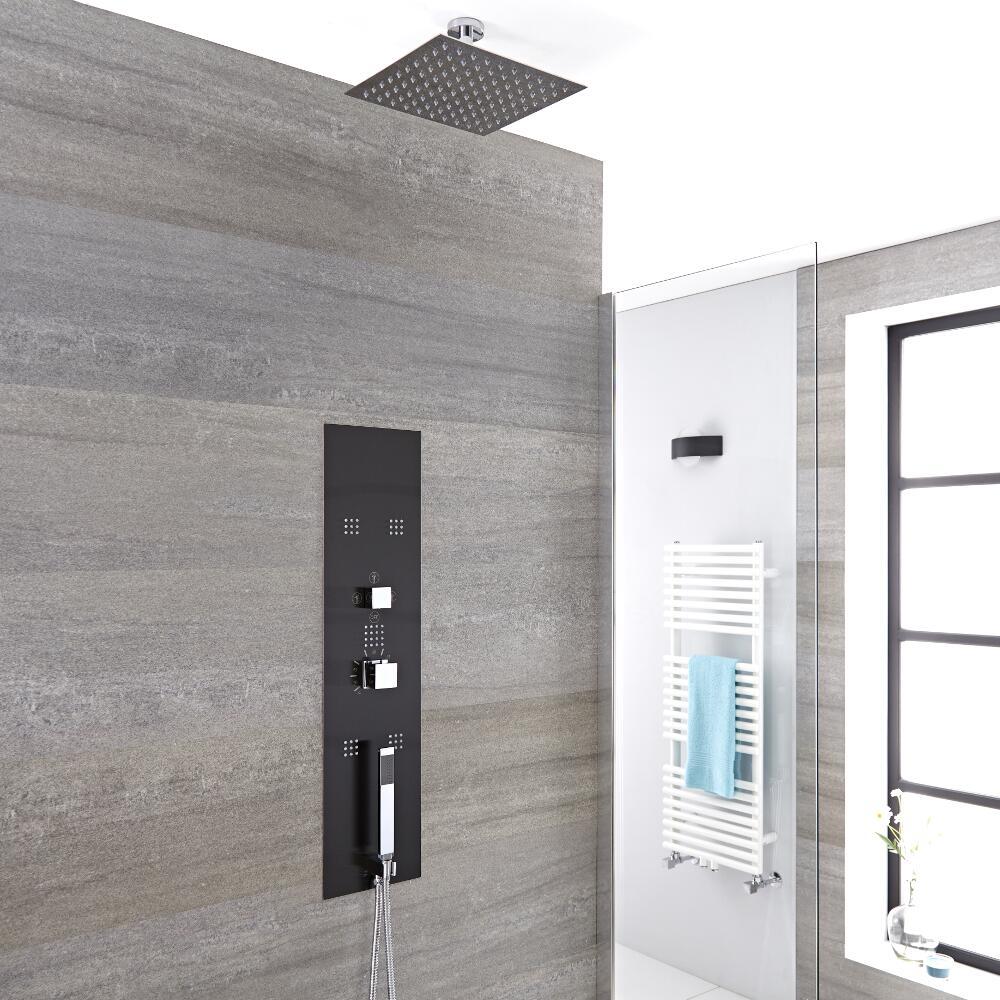 Unterputz Duschpaneel in dunklem Grau mit 3 Funktionen & quadratischem 200mm Duschkopf Deckenmontage - Llis