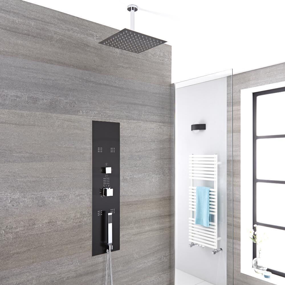 Unterputz Duschpaneel in dunklem Grau mit 3 Funktionen & quadratischem 400mm Duschkopf Deckenmontage - Llis