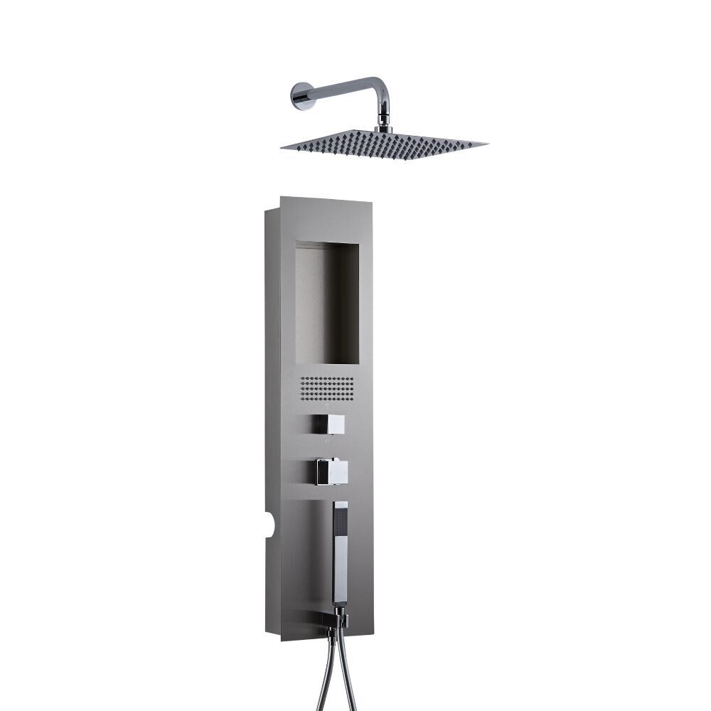 Unterputz Duschpaneel Llis gebürsteter Edelstahl mit 300mm Duschkopf mit Wandarm Quadratisch