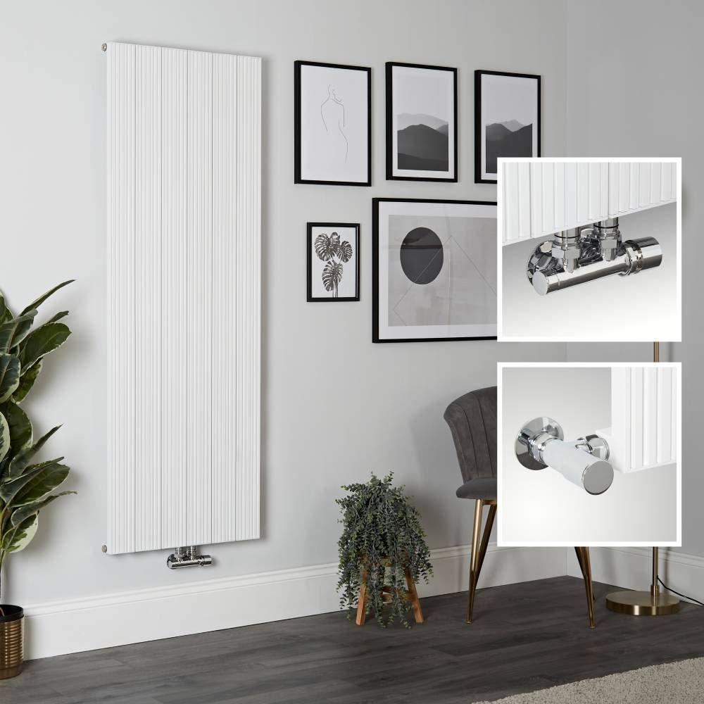 Meykoers Design-Heizk/örper Antrazit Vertikal 1800x600mm Oval Heizung Mittelanschluss Doppellagig