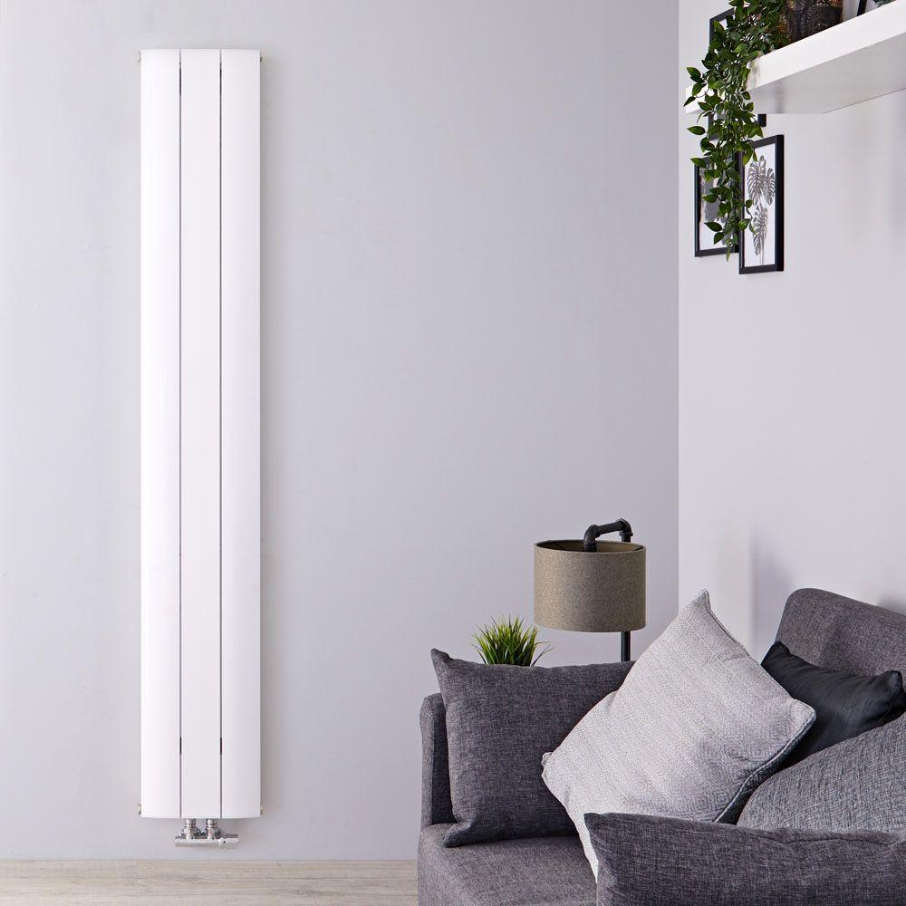 Design Heizkörper Vertikal Einlagig Mittelanschluss - Aluminium Weiß 9mm  x 9mm 9W - Aurora