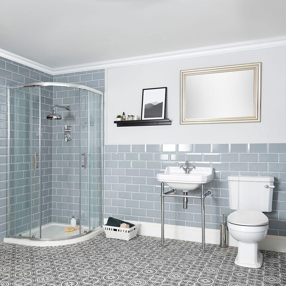 Nostalgie Bad Komplettset   Viertelkreis Dusche, Stand WC und Waschtisch  mit Metallgestell – Richmond