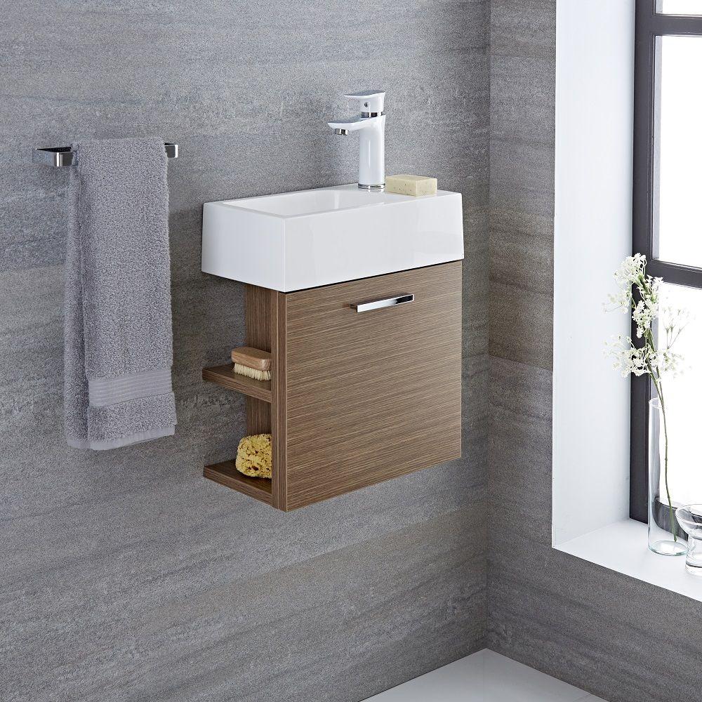 waschtisch fuer gaeste wc mit unterschrank eiche mm