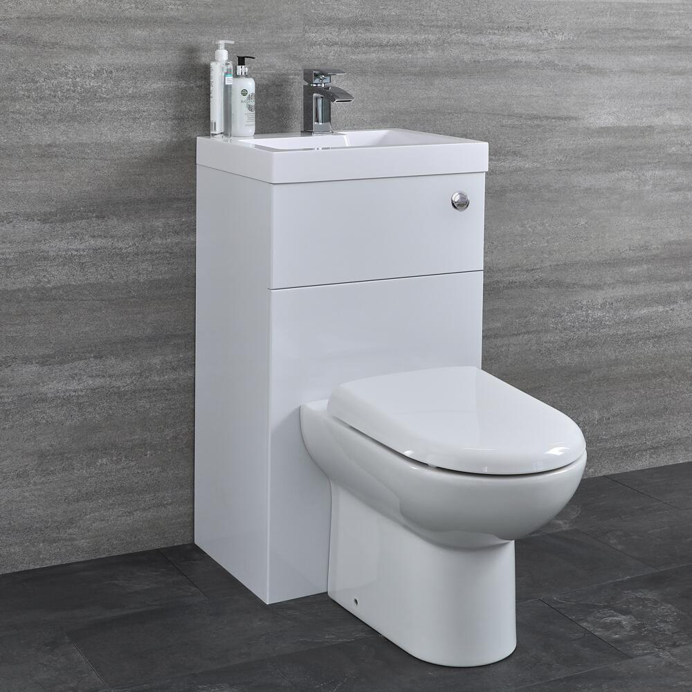 D förmige Toilette mit Spülkasten und integriertem Waschbecken