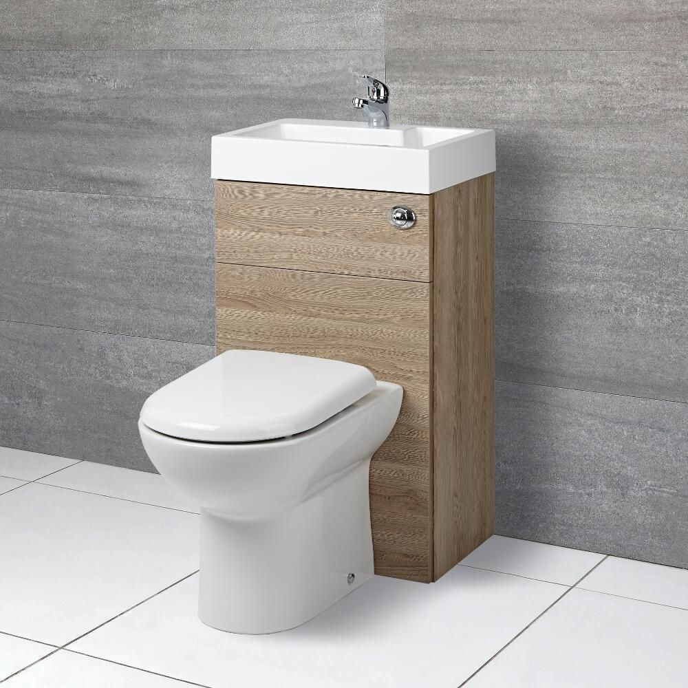 D förmige Toilette mit Spülkasten und integriertem
