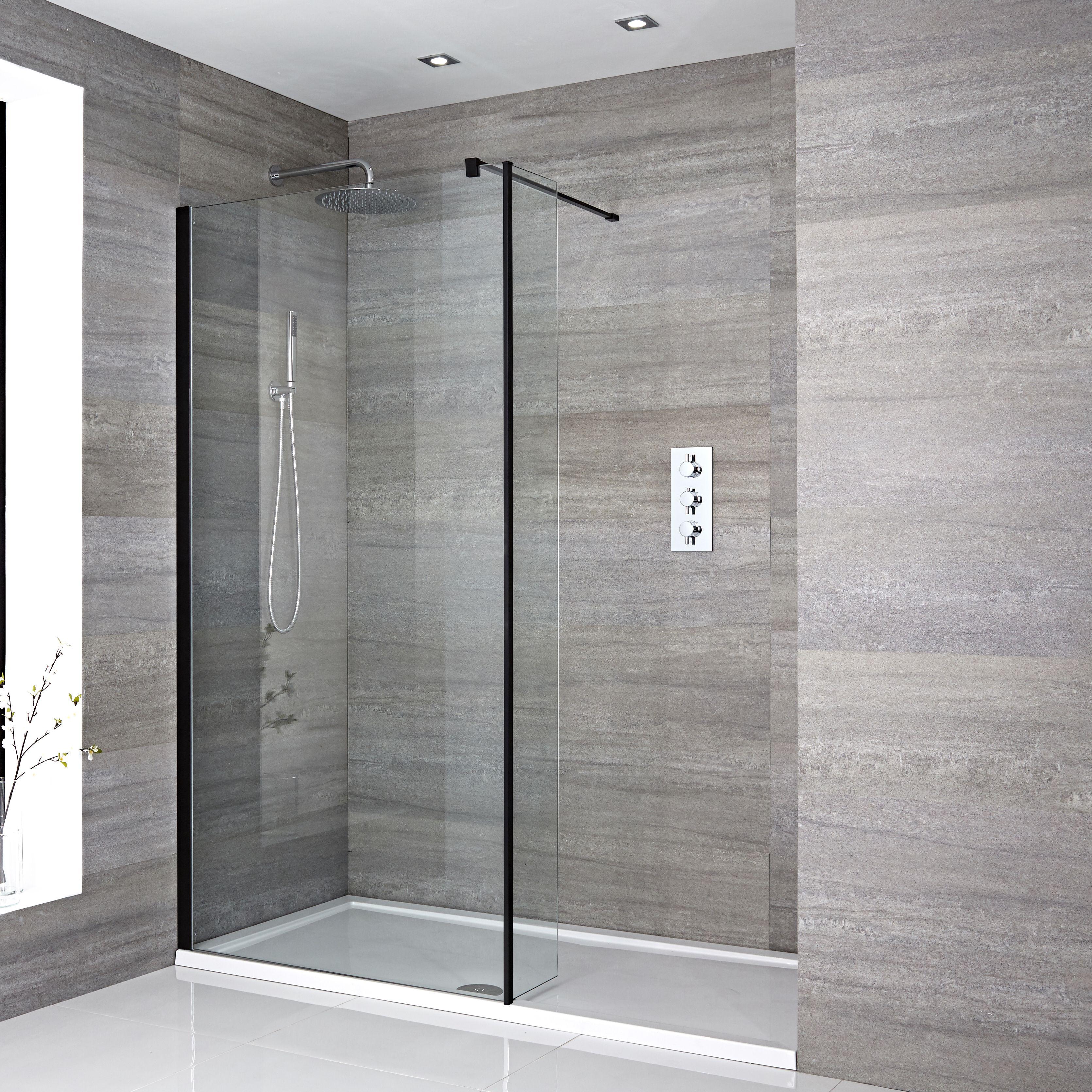 Nox Vertiefte Walk-In Dusche mit Seitenteil, Duschtasse Weiß - Wählbare  Größe
