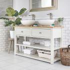 Waschtischunterschrank mit 2 runden Aufsatzwaschbecken und offenen Fächern B 1240mm Antikweiß - Stratford
