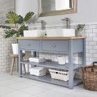 Waschtischunterschrank mit 2 eckigen Aufsatzwaschbecken und offenen Fächern B 1240mm Hellgrau - Stratford
