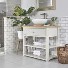 Waschtischunterschrank mit rundem Aufsatzwaschbecken und offenen Fächern B 840mm Antik Weiß - Stratford