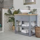 Waschtischunterschrank mit rundem Aufsatzwaschbecken und offenen Fächern B 840mm Hellgrau - Stratford