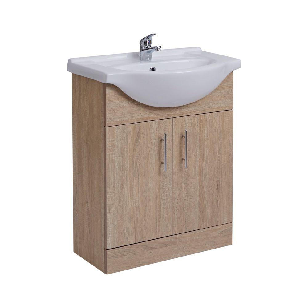 waschtischunterschrank mit aufsatzwaschbecken 650mm eiche mit zwei t ren ohne armatur. Black Bedroom Furniture Sets. Home Design Ideas