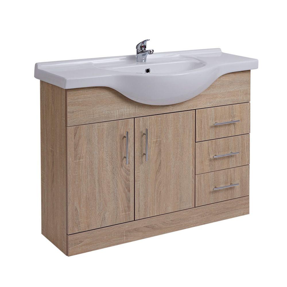 Waschtischunterschrank mit Aufsatzwaschtisch 1050mm - Eiche mit zwei ...