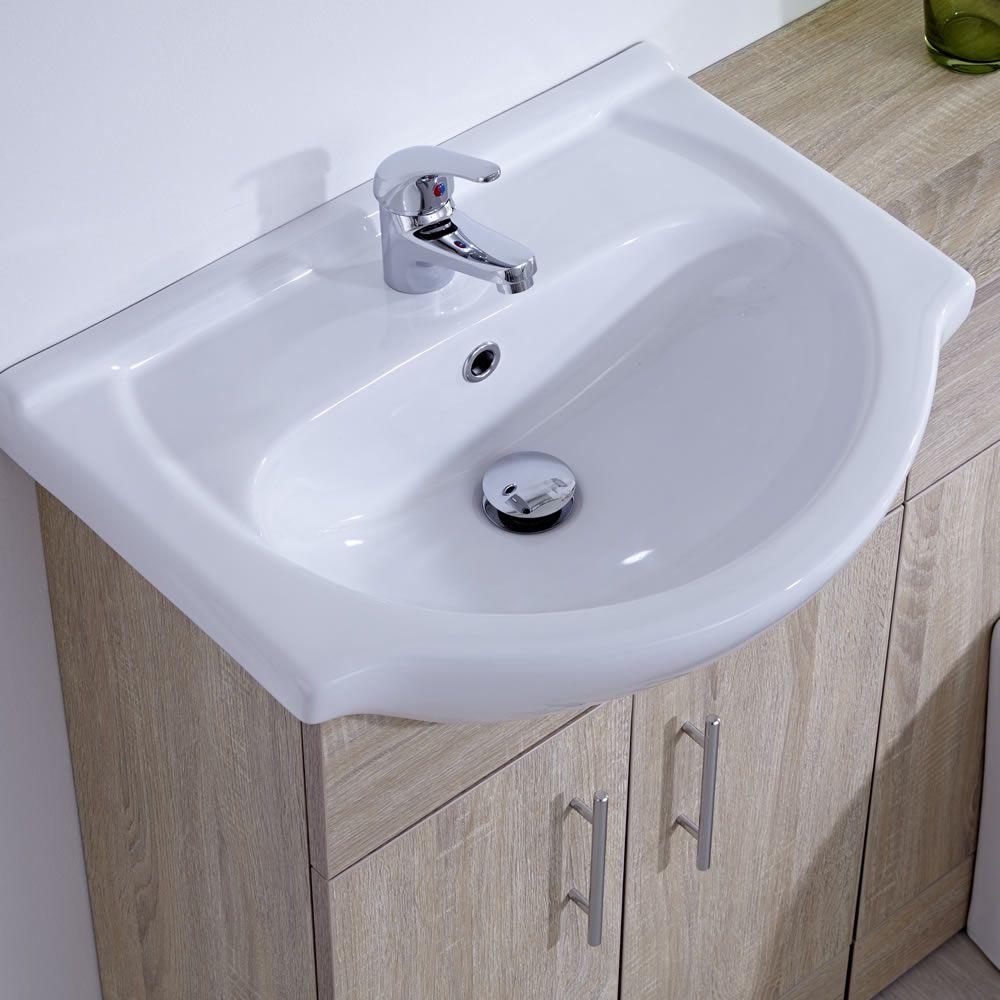 Waschbecken und Toiletten Set - Eiche 1040mm - ovale Toilette